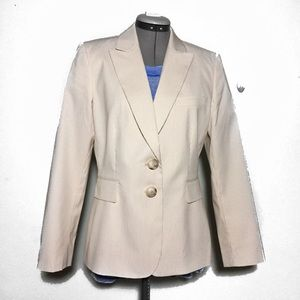 Tahari Tan & Cream Seersucker Blazer 8